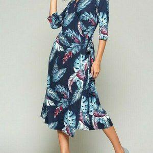Bluheaven By Umgee Wrap Dress Midi Feather
